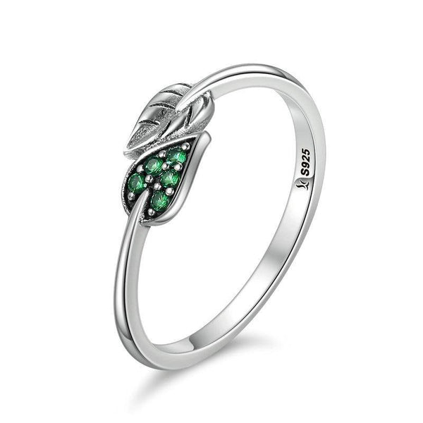Women's 925 Sterling Silver Dancing Leaf Green Dazzling Ring-Silver Rings-Junaizo.com