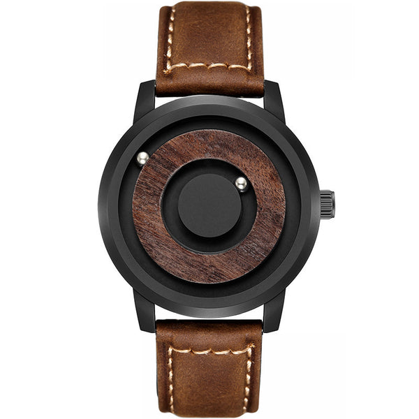 Men's Simple Magnetic Drive Novelty Wood Dial Quartz Wristwatch-Men's Quartz Watches-Junaizo.com