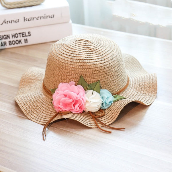 Girls Summer Style Wide Brim Floppy Panama Floral Straw Sun Hat-Sun Hats-Junaizo.com