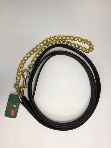 Leather lead with brass chain