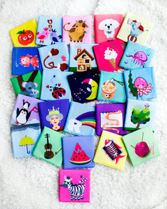 Fabric Alphabet Learning Cards | Baby Education | Safe Soft Spongy 26 Pcs | Perfect Gift | FREE Shipping
