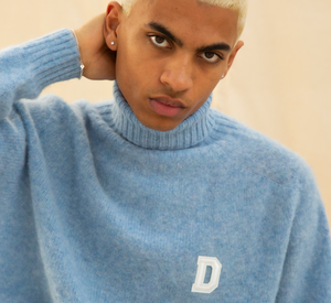 ROLL NECK BRUSHED WOOL SWEATER SKY BLUE