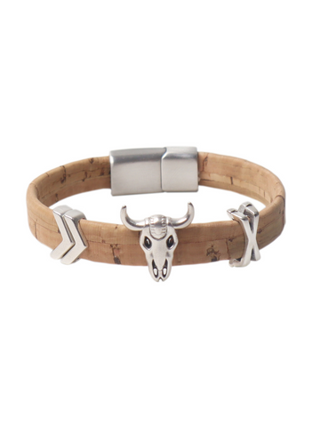 Mens Bracelet in Vegan Cork with antique silver accents
