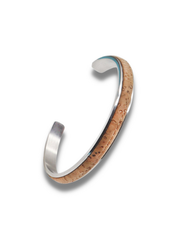 Mens Bracelet in Stainless Steel Cuff with an inlay of Cork Bark