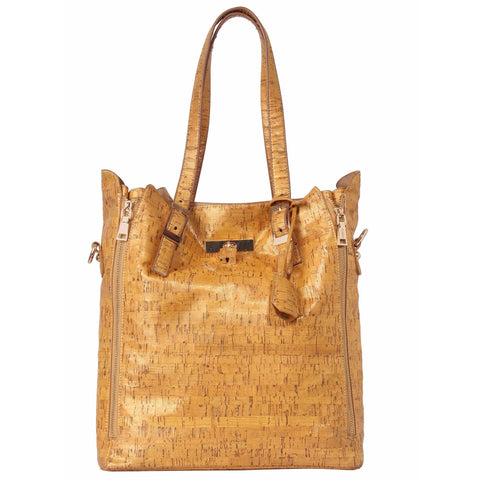 FOReT Gold Tan Cork Bucket Bag-in-Bag