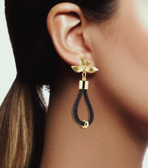 FOReT Cork Earring with Gold Floral design