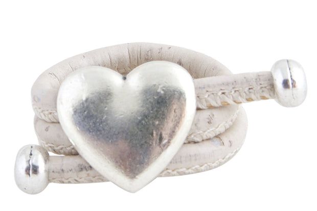 Heart Ring made in White and Cork Leather