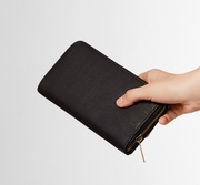 Zip around wristlet for Women in black cork