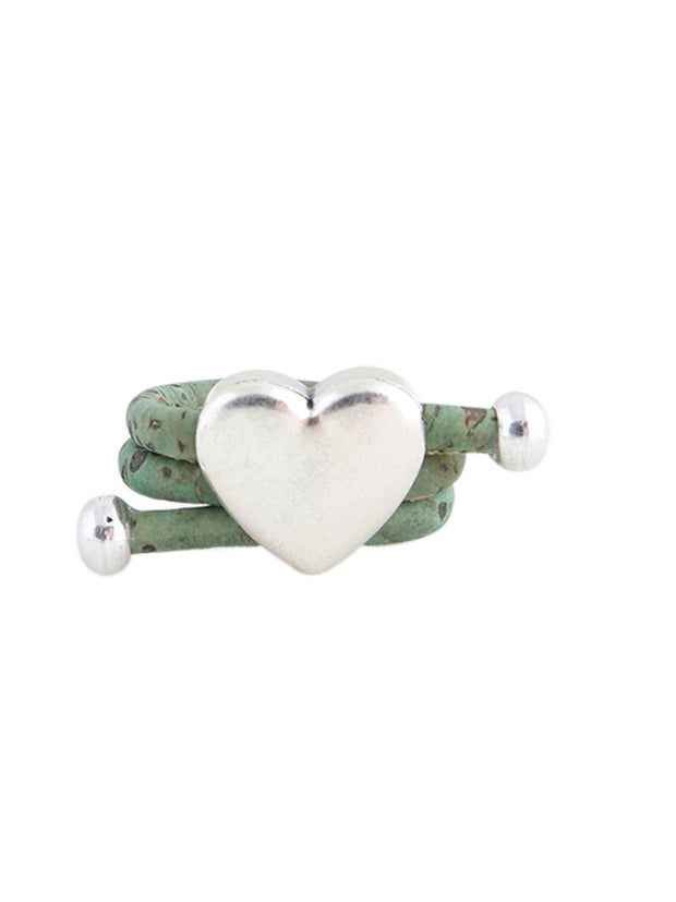 Ring with Heart Design and Green Colout | Made from Cork - FOReT