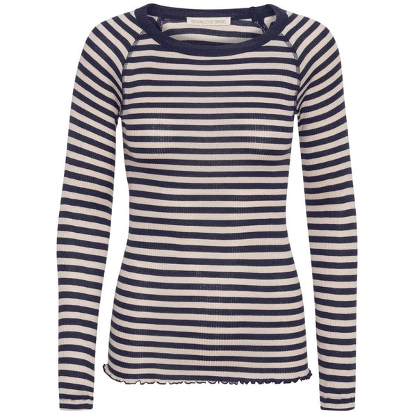 Silky Jade - Navy Beige stripes