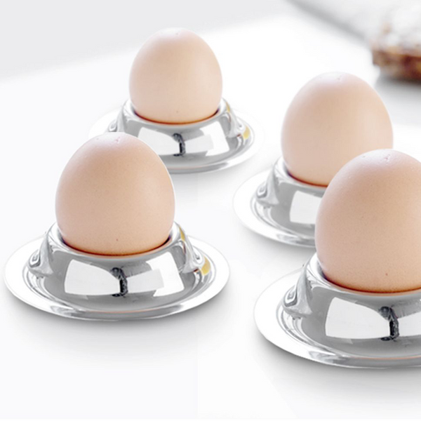 Egg cup round plateau in steel