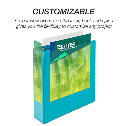 Samsill Earth's Choice Biobased Durable 3 Ring Binders, Fashion Clear View 2 Inch Binders, Up to 25% Plant Based Plastic, Assorted 4 Pack (MP48669)