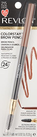 Revlon ColorStay Eyebrow Pencil with Spoolie Brush, Waterproof, Longwearing, Angled Tip Applicator, 215 Auburn, 0.012 oz