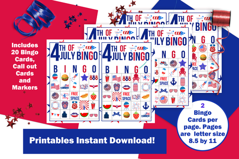 4th of July Bingo Game Printable for Instant Download