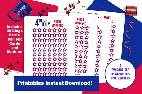 Image of 4th of July Bingo Game Printable for Instant Download