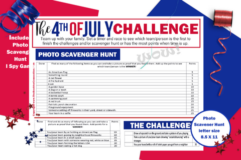 4th of July Games Printable for Instant Download - I Spy and Photo Scavenger Hunt