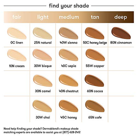 Image of Dermablend Smooth Liquid Camo Medium to High Coverage Foundation Makeup with SPF 25, 30N Camel, 1 fl. oz.