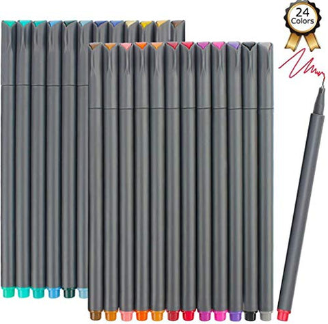iBayam Fineliner Pens, 24 Bright Colors Fine Point Pens Colored Pens for Journaling Note Taking Writing Drawing Coloring Planner Calendar, Office School Teacher Classroom Fine Tip Marker Pens Supplies