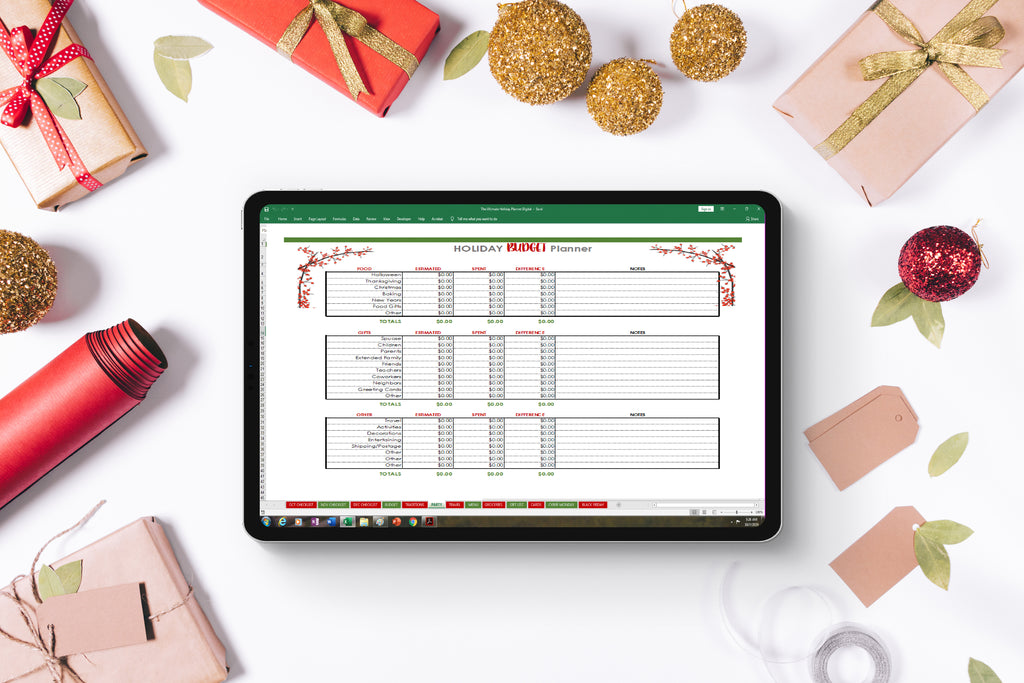 Digital Holiday Planner Spreadsheets