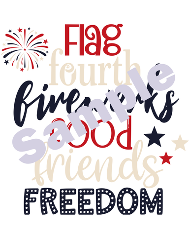 Image of 4th of July USA Banner and Typography Art