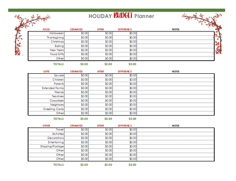 Image of Digital Holiday Planner Spreadsheets