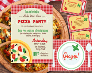 Editable - Pizza Party Family Night Bundle With Invite, Recipe Cards, and Thank You Card