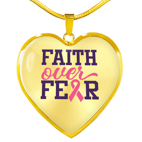 Image of Breast Cancer Faith Over Fear Necklace