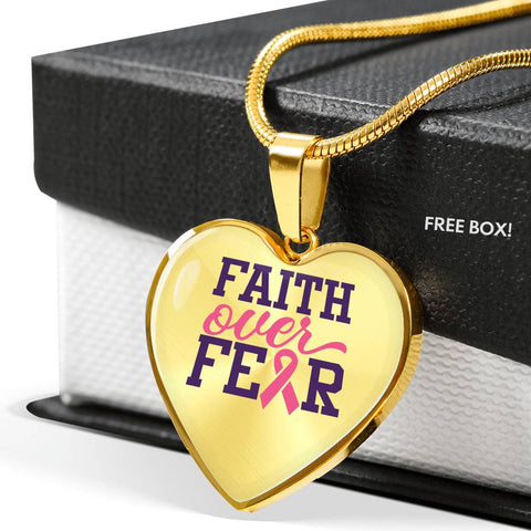 Breast Cancer Faith Over Fear Necklace