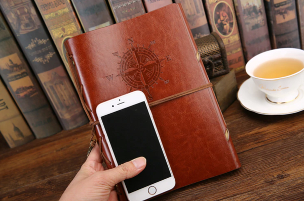 Large Vintage leather travel notebook