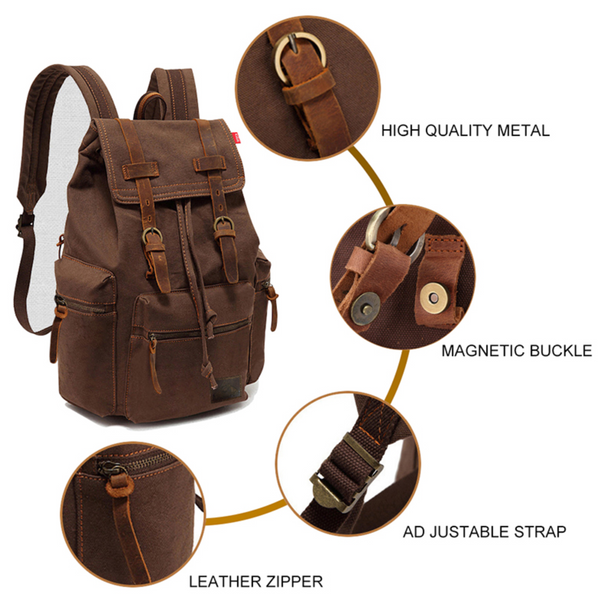 Leather Vintage Backpack Features