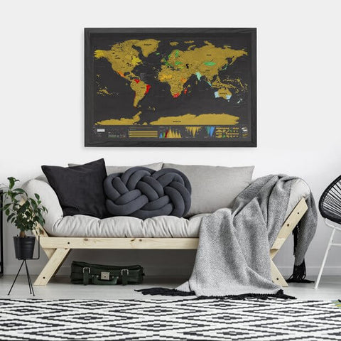 Living room scratch off world map