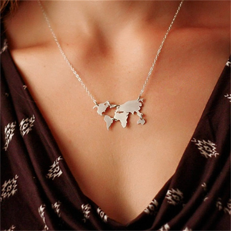 Flash Sale: World Map Necklace - Earthly Citizens