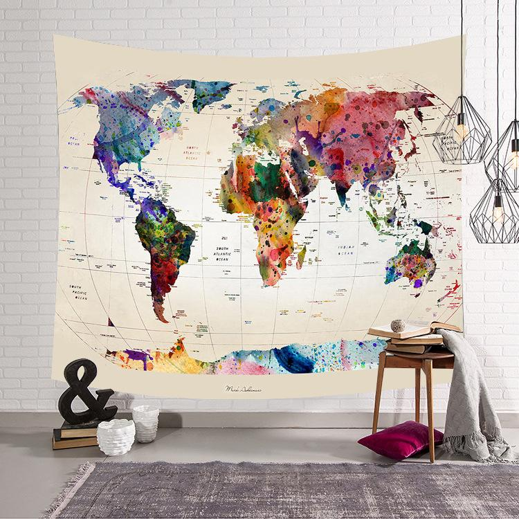 Beige World Map Watercolor Tapestry - Earthly Citizens