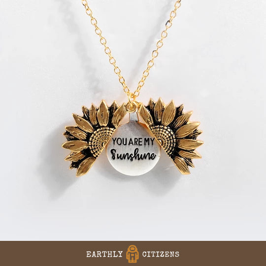 Earthly citizens you are my sunshine sunflower necklace