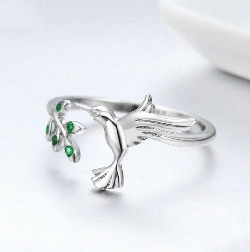 Unique Release: S925 Silver Adjustable Hummingbird Ring