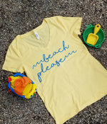 Beach Please Womens V Neck Tee