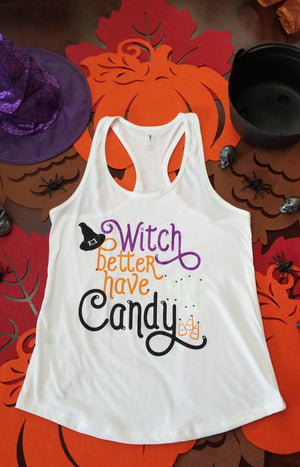 Witch Better Have My Candy Handmade Glitter and Rhinestone Tank with Glow!