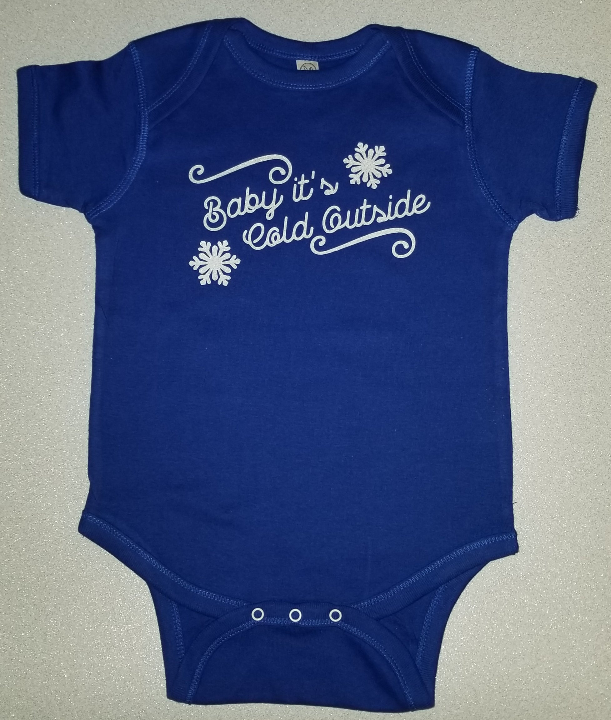 Baby it's Cold Outside Infant Bodysuit with Metal Flake Lettering (Light Glitter)