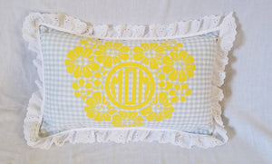 20 Inch Gingham Custom Heart Monogram Accent Lumbar Pillow with Delicate Shabby Chic Style Eyelet Trim