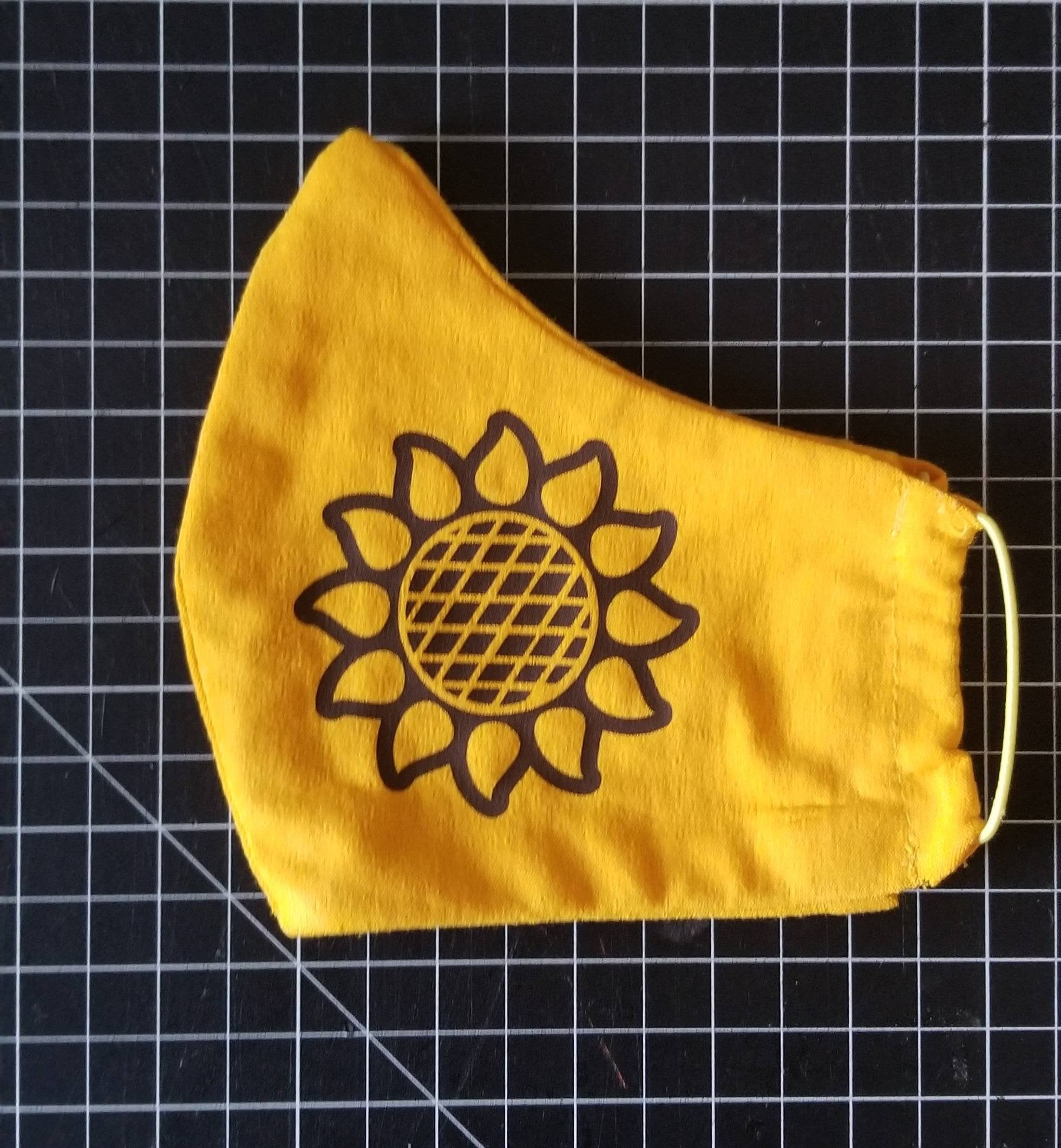 Floral Face Mask Sunflower Face Mask / Soft Yellow Jersey Cotton / Comfort Fit / Elastic Ear Bands Reusable Washable Breathable