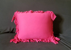 Chihuahua Accent Pillow / Soft Jersey Cotton / 22 inch Decorative Throw Pillow  | Fringed Throw Pillow | Pink Dog Pillow | Pink Jersey Pillo