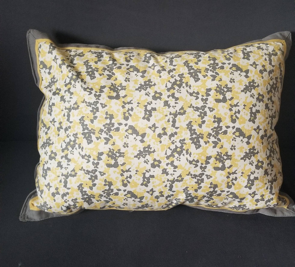 20 Inch Yellow and Gray Flower Decorative Accent Pillow made from Sturdy Canvas Style Cotton and Overstuffed for Firm Comfort