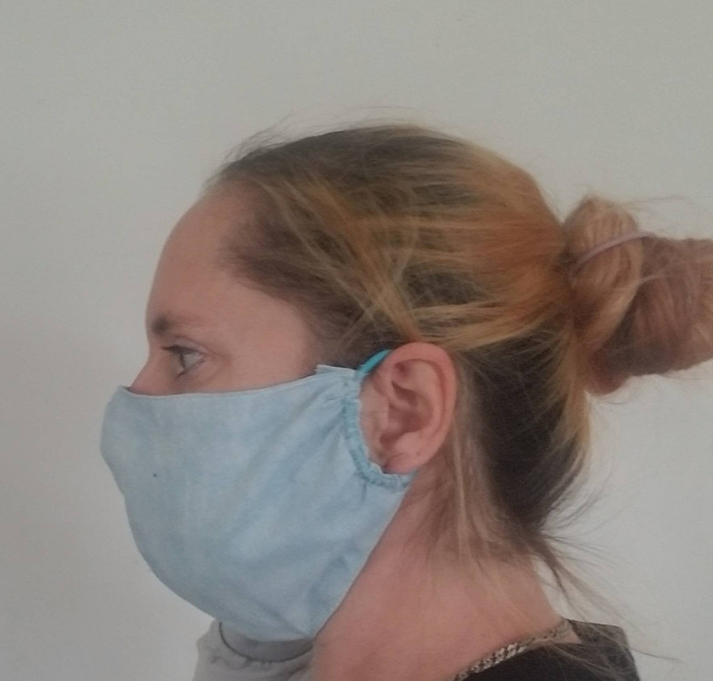 Blue Sky Face Mask with Filter Pocket Soft Cotton Cloth Reusable and Washable Comfort Fitted to be Breathable with Elastic Ear Bands