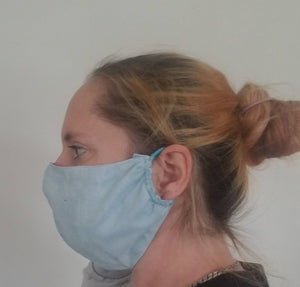 Face Mask with Filter Pocket | Light Blue Face Mask - Soft Cotton Reusable Mask - Comfort Fitted - Breathable - Washable Elastic Bands Cloth