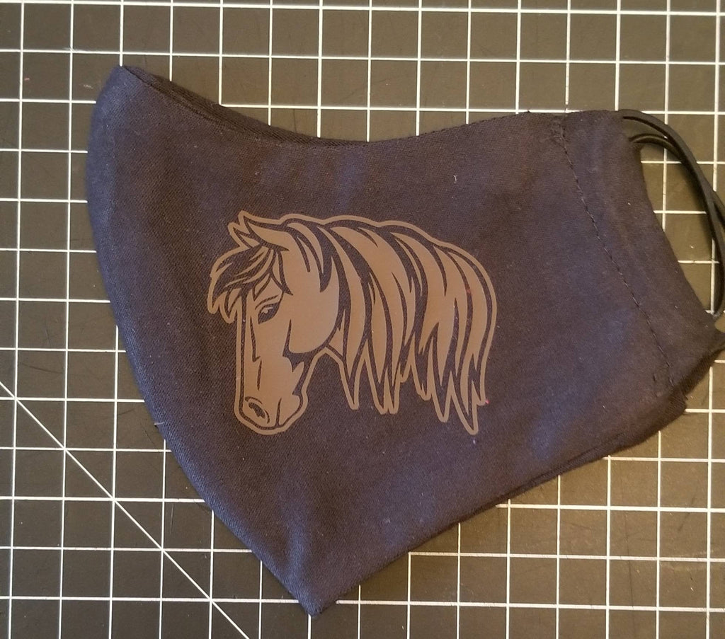 Face Mask with Filter / Brown Horse Mask / Soft Black Jersey Cotton / Comfort Fit / Ear Bands Reusable Washable Breathable Cloth Men Men's