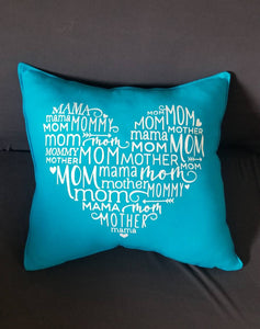 Names of Mom 16in Heart Pillow, Best Overstuffed, Soft Jersey Cotton Accent Throw, in your Choice of Colors