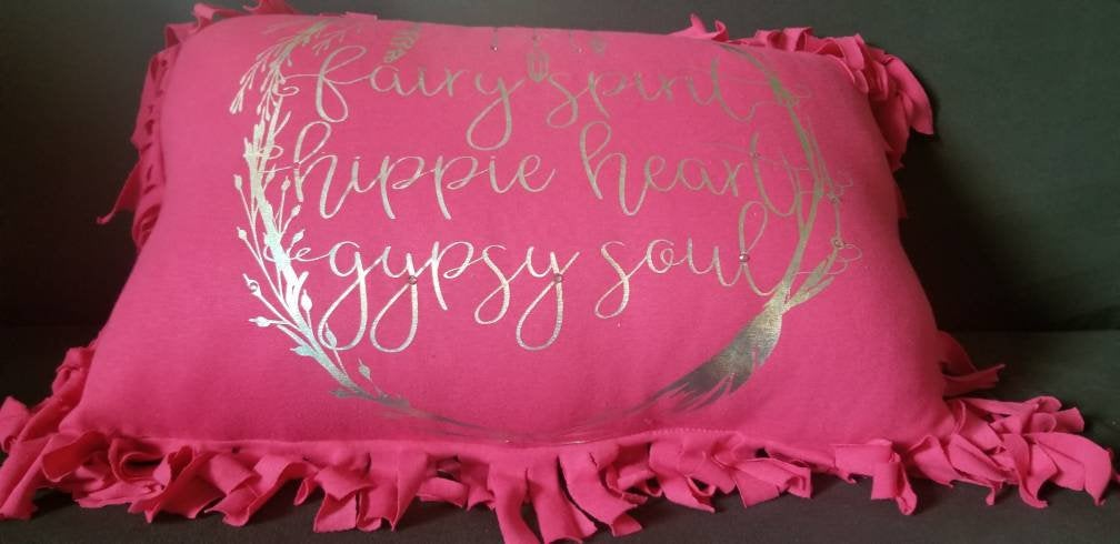 25 Inch Pink Dream Catcher Fringed Soft Jersey Cotton Throw Pillow with Soft Metal Flake Glitter Text and Rhinestone Embellishment
