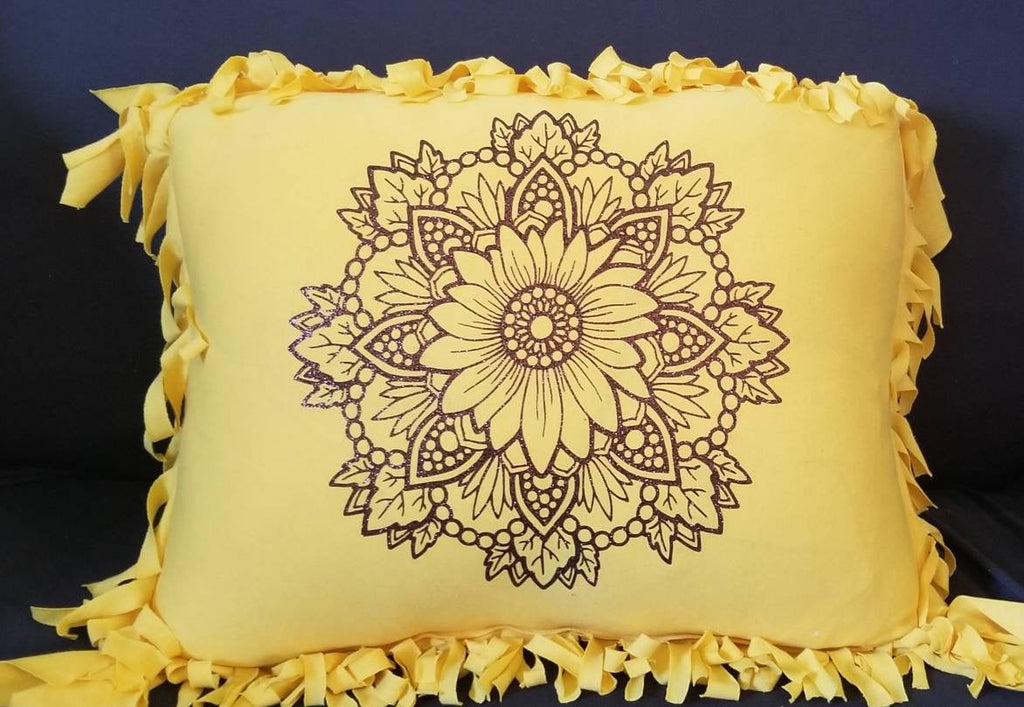 24 Inch Sunflower Mandala Fringed Throw Pillow Made from Soft Jersey Cotton with Non Flaking Glitter Embellishment