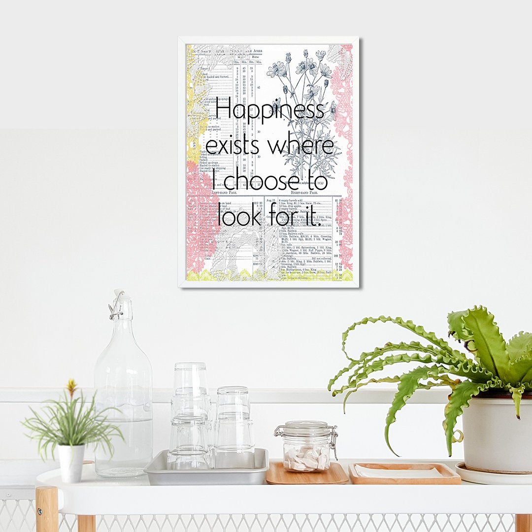 Vintage Style Art PDF / Planner Art / Happiness Exists / Printable Affirmation Art / Wallpaper / Inspirational Print /  Garden Steampunk