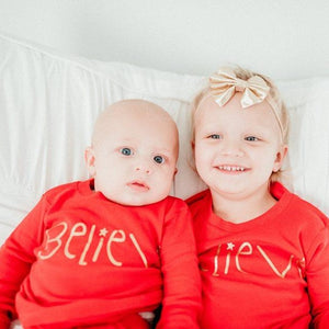 Believe Christmas Kids Pajamas (Red)